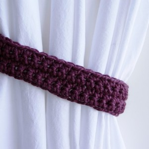 One Pair of Solid Fig Purple Curtain Tie Backs, Drapery Tiebacks for Drapes, Soft Wool Blend, Basic, Simple, Crochet Knit, Ready to Ship in 3 Days