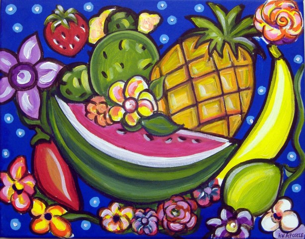 Mexican Folk Art - TROPICAL FRUIT - PRINT Signed By Artist A.V.Apostle