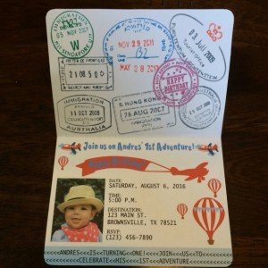 Passport Invitation Vintage Airplane - hot air balloon-Kids Birthday Party Invitation- set of 15