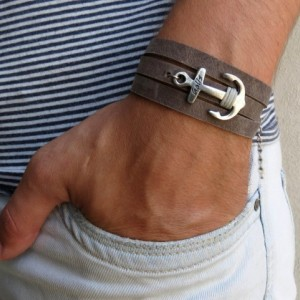 Men's Bracelet - Men's Anchor Bracelet - Men's Leather Bracelet - Men's Jewelry - Men's Gift - Husband Gift - Boyfriend Gift - Male Jewelry