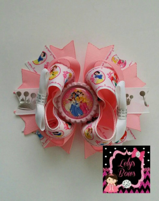 Princesses inspired Stacked Boutique Hair Bow, Princesses hair bow, Princesses bow, Princesses party, Princesses  birthday party, Princesses