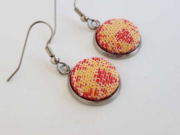 Wrap Scrap Jewelry - Earrings - Natibaby - Koguty Cardinal - Wrap Scrap - Babywearing - Flower - Polish