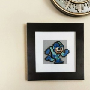 Running Mega Man Framed Perler Art- Geekery- 8 Bit Blue Bomber- Nerd- Fan Art- Comic Con 2015