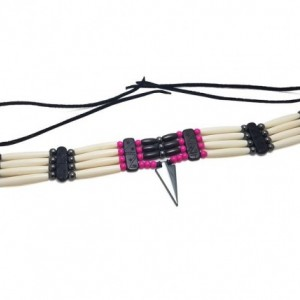 Traditional 4 Row Buffalo Bone Hairpipe Beads Tribal Choker Necklace with Arrowhead Pendant