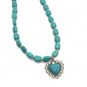 Southwestern Turquoise colored necklace and heart pendent