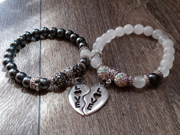 Hematite & Quartz Bracelet Set With Matching Heart Love Charm and Crown