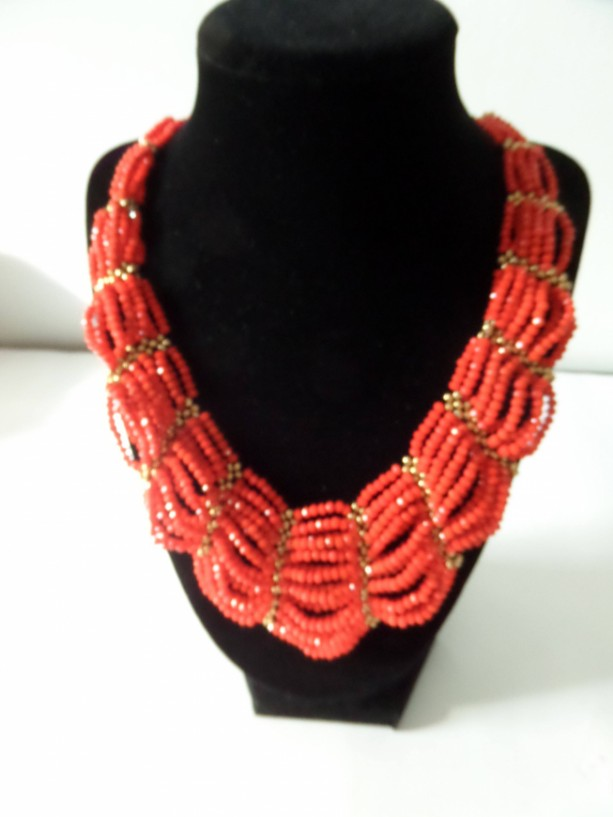 Red and gold beaded statement necklace set