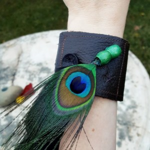 Peacock Feather-Brown Leather Unisex Bracelet Cuff-Size Med 6.5 to 7 inch wrist