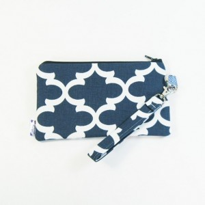 Medium Wristlet Zipper Pouch Clutch - Navy Fulton
