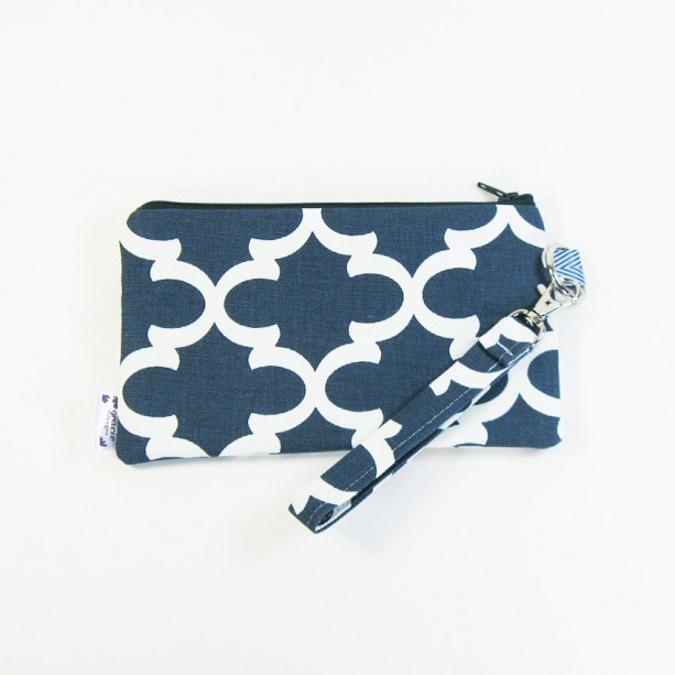 Medium Wristlet Zipper Pouch Clutch - Navy Fulton
