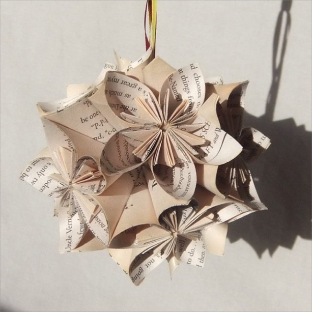 Harry Potter Large Origami Ornament Upcycled, Harry Potter Ornament, Christmas Tree Ornament, Harry Potter Decor, Fan Pull, Geeky Christmas