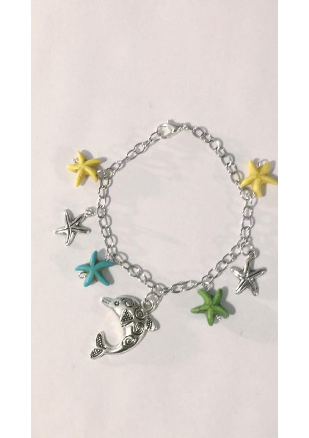 Dolphin and Starfish Charm Bracelet