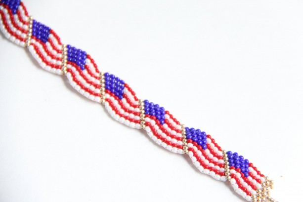 USA themed beaded bracelet