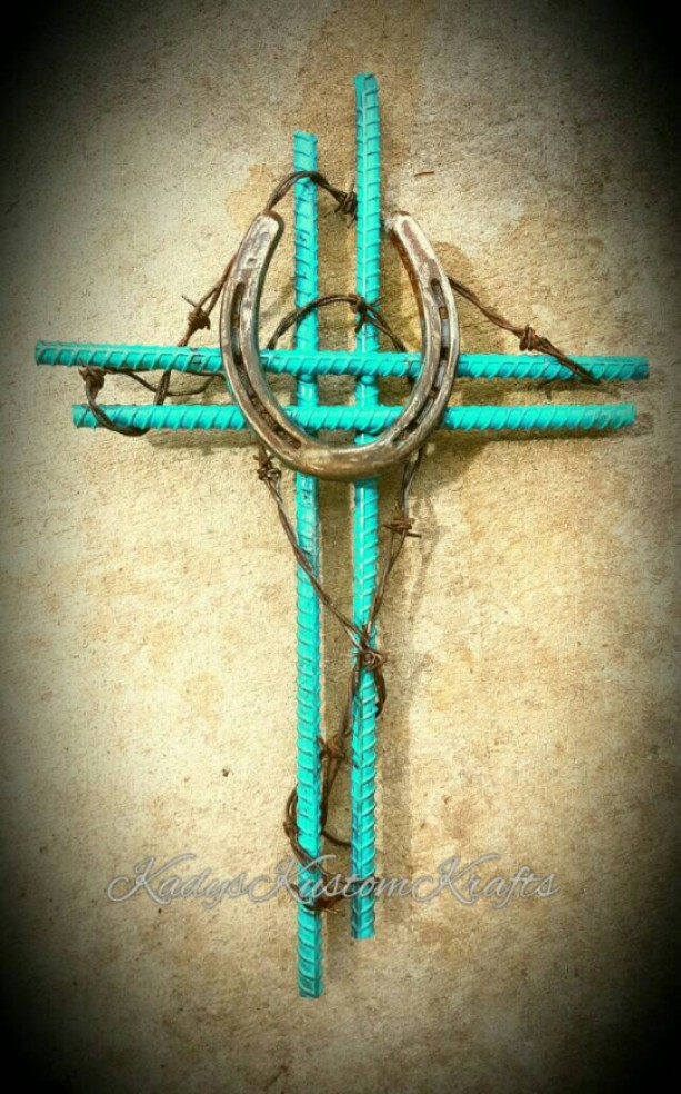 Ooak Rustic Horseshoe Cross Blue Country Wedding