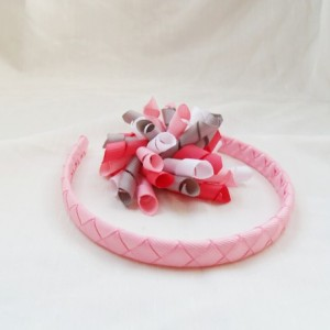 Pink, White, and Gray Valentine's Day Korker and Headband set