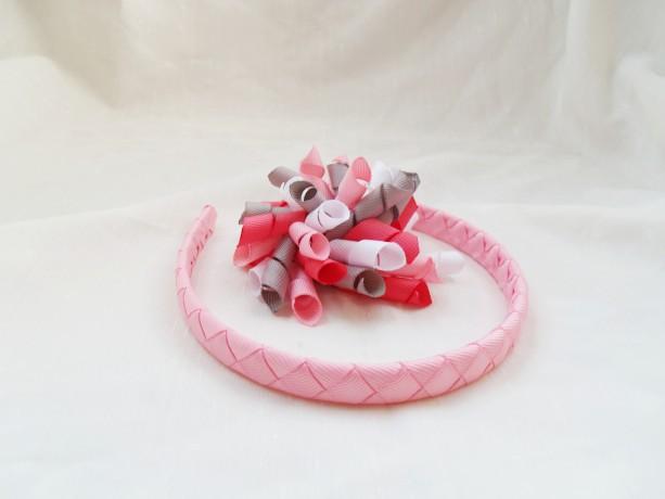 Pink, White, and Gray Valentine's Day Korker and Headband set