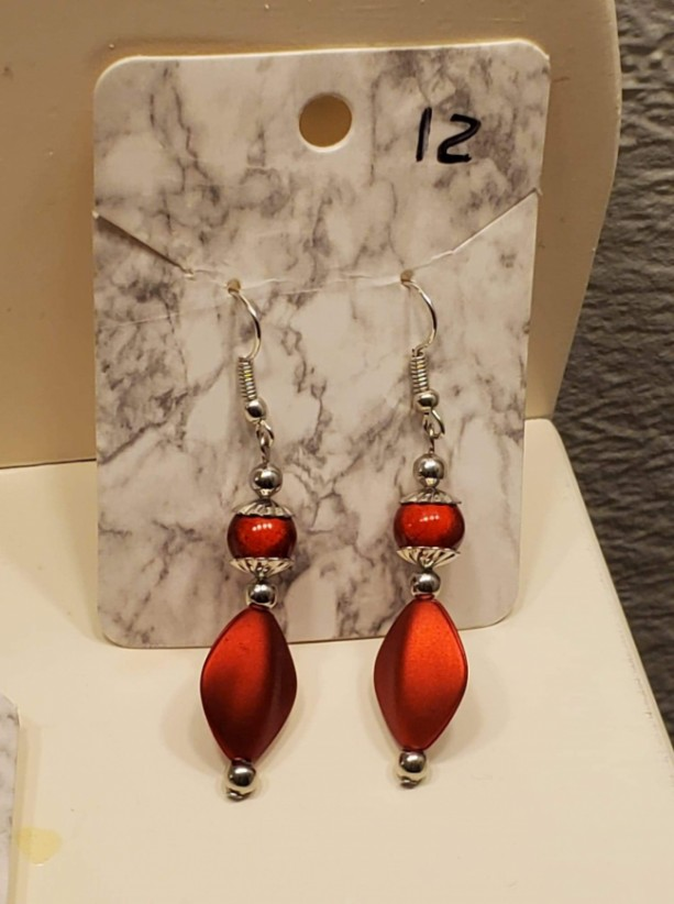 Red bead and gem earrings