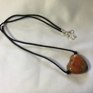 Ceramic Puffed Heart Necklace - Earthy