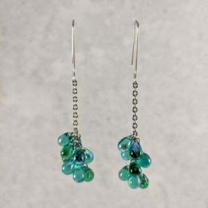 The Kiara | handmade glass teardrop bead cluster earrings, stainless steel, chain dangle, rectangular wires, Czech glass, Gifts for Her