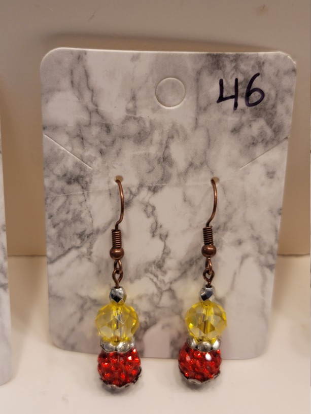 Red and yellow bead earrings