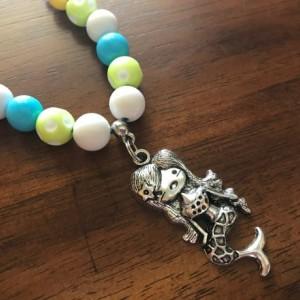 Mermaid Mini Chunky Necklace, Mermaid Bubblegum Necklace, Mermaid Gumball Necklace, Kid Jewelry, Mini Chunky Necklace, Ready To Ship