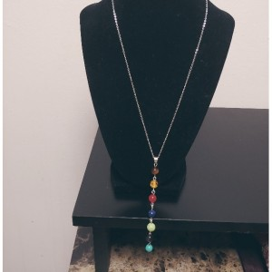 Stainless Steel 7 Stone Chakra Necklace