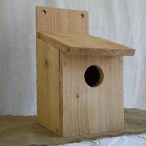 Cedar Birdhouse with Flat Roof, Birdhouse, Cedar Bluebird House, Rustic Cedar Birdhouse