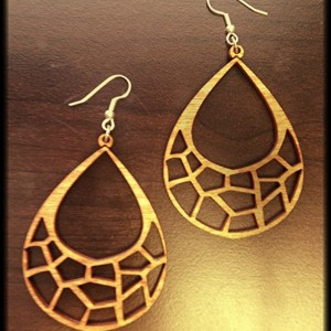 Wooden Abstract Giraffe Print Dangle Earrings - FREE US SHIPPING