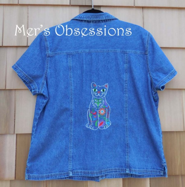 Women's Denim Shirt with Embroidered Mexican Style Floral Cat