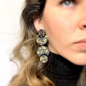 Long Black and Gold Earrings, Moon Phase Earrings, Clay Earring, Beautiful earrings, Unique Earrings, Long dangle earrings