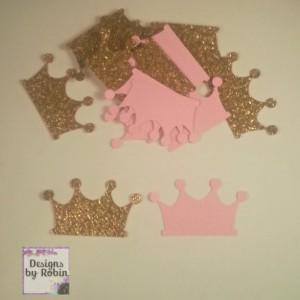 200 Pink and Gold Glitter Princess Crown Confetti  - Tiarra Gold and Pink Party - Baby Princess Party  - Prince Party - Wedding Decor