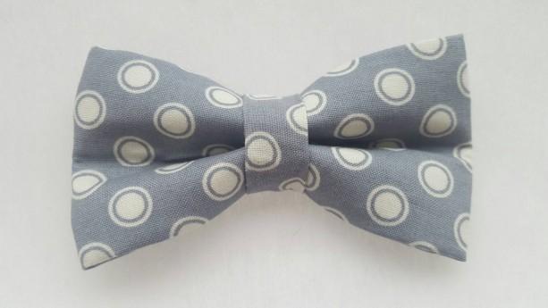 Gray white circles pet bow tie