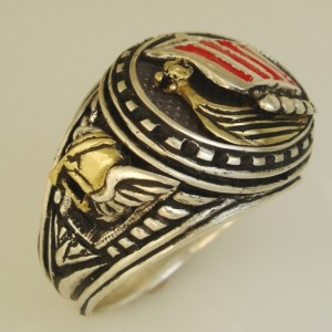 10Karat Gold Viking Dragon ship sterling silver ring