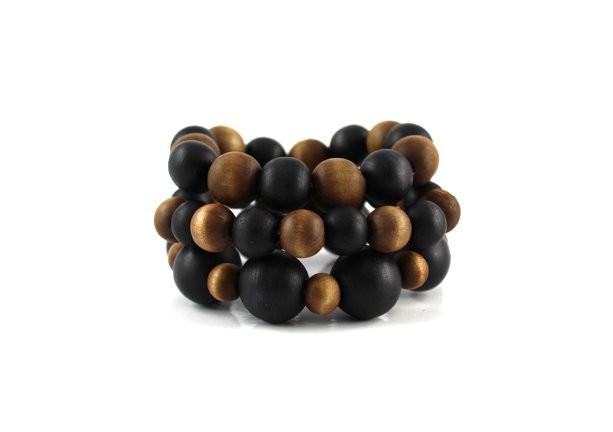 Natural Brown & Black Wooden 3 Piece Stretch Set