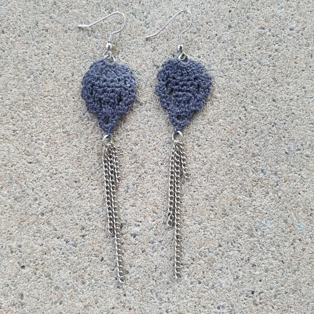 Crocheted Earrings grey
