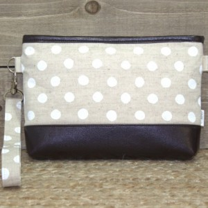 iPhone Wallet Wristlet iPhone 7 Plus Crossbody, Samsung Galaxy Note, S6 S7 Edge, Cell Phone Purse Clutch, Card Slots / Natural Linen Dots