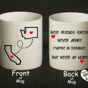 BFF Mugs, Best Friends Forever Mug (1 mug), State and city mug, custom mugs, Double sided mug, distance mug, birthday gift, going away