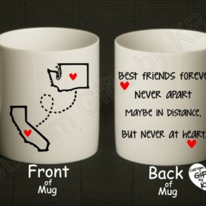 Pair of BFF Mugs, Best Friends Forever Mug (2 mugs), State and city mug, Double sided mug, distance mug, birthday gift, going away