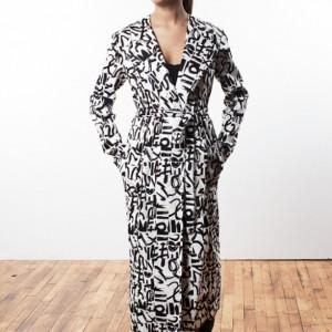 Womens Black & White Print Long Coat