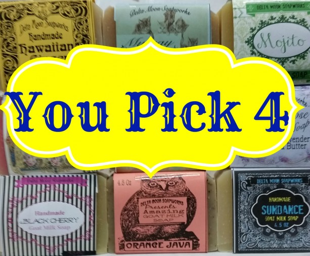 Complimentary Shipping Your choice of FOUR full sized Goat Milk Soaps Olive Oil, honey, sensitive skin, facial soap, shaving soap, Dry Skin