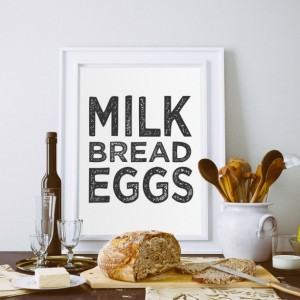 Grocery List Art Print | Minimalist Kitchen Art Decor | Kitchen Wall Art | Milk Bread Eggs | Modern Kitchen | Kitchen Poster