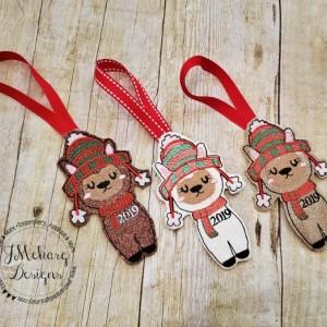 Buy 3 Get 1 Free Custom Embroidered Christmas Llama Ornament