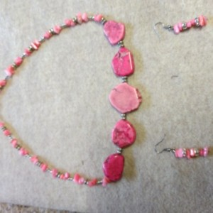 Pink Necklace and matching earrings