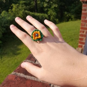 Flower Ring - Statement Ring - Gold and Green - Crochet - Boho Ring -  Sunflower