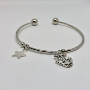 Anchor and Star Bangle Charm Bracelet - Nautical Charms Jewelry