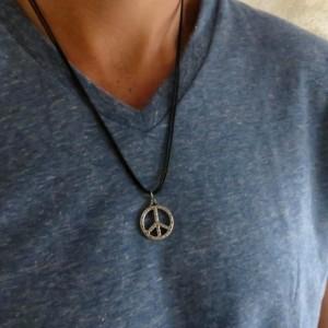 Men's Necklace - Men's Peace Necklace - Men's Vegan Necklace - Men's Jewelry - Men's Gift - Husband Gift - Boyfriend Gift - Gift For Dad