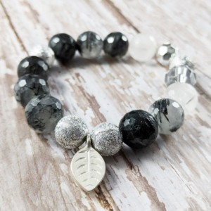 The Lisa | handmade beaded stretch bracelet, rutilated quartz beads, vintage acrylic, sterling silver, leaf charm, 12mm beads, Gifts for Her