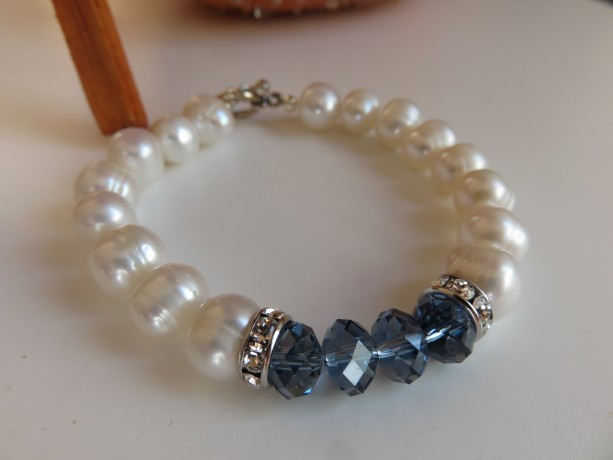 Big Pearls & Denim Bracelet