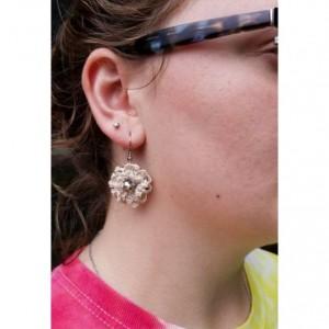 Cream Crochet Flower Drop Earrings