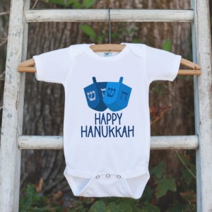 Happy Hanukkah Outfit - Kids Hanukkah Onepiece or Shirt - Holiday Outfit for Newborn, Baby, Toddler, Youth - Hanukkah Gift Idea - Dreidel